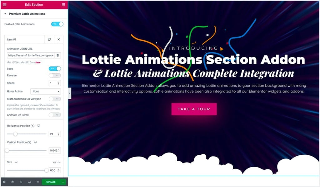 This is showing Lottie Animations Section Add-on settings for Elementor Page Builder.
