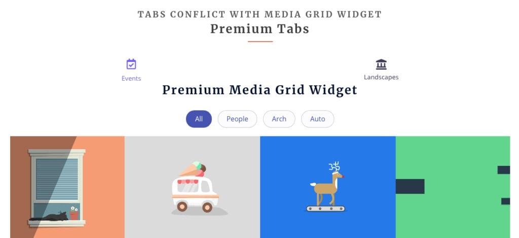 Elementor Media Grid widget in Elementor Tabs widget