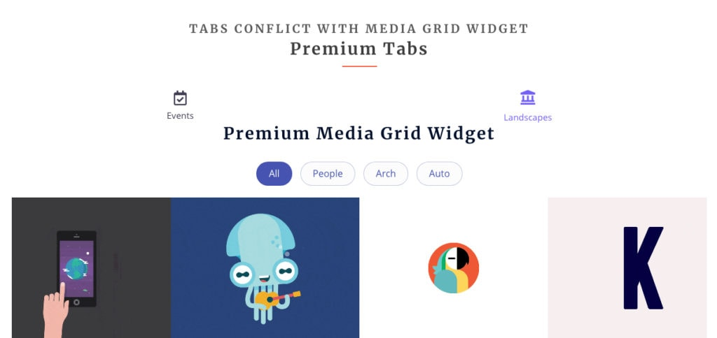 Elementor Media Grid and Tabs Widgets Issue Fix