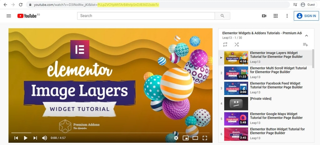 Get YouTube Playlist ID for Elementor Video Box Widget