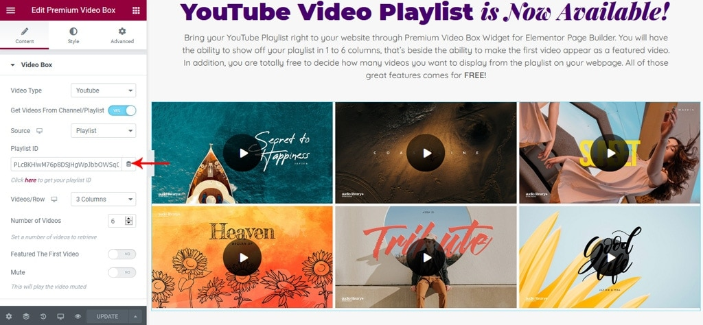 Elementor Video Box Widget Displays the Playlist Videos Successfully