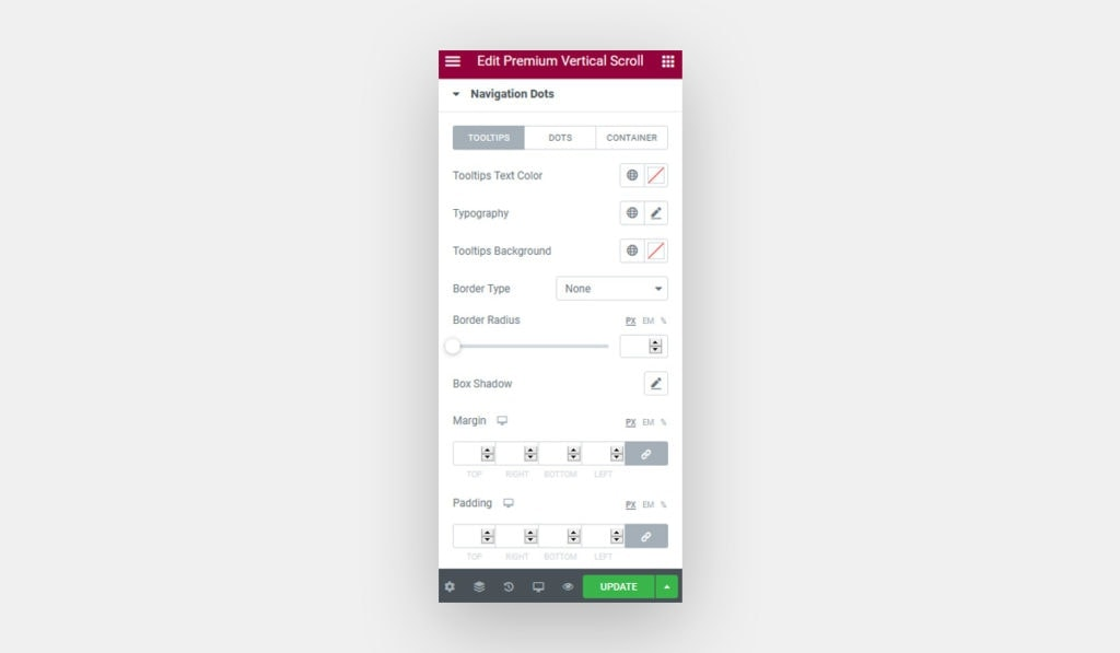 Elementor Vertical Scroll widget style tab options