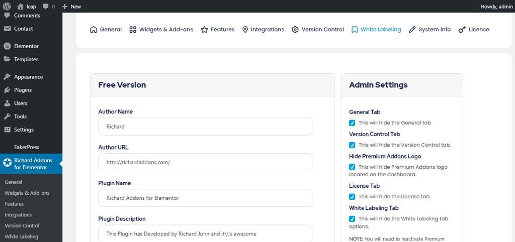 White Label Admin Settings for Premium Addons for Elementor