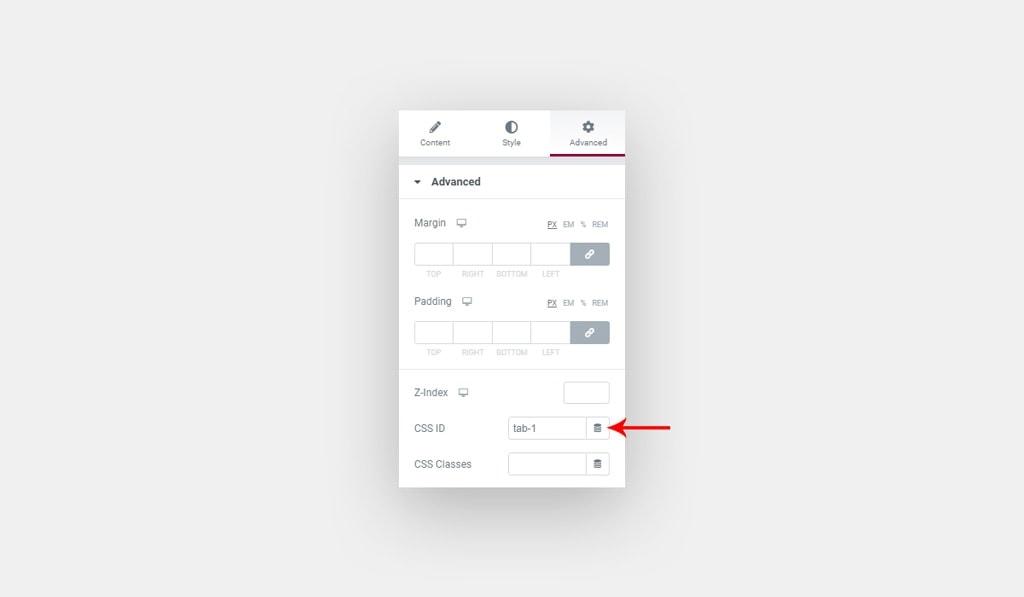 Assign ID to Elementor Element for Elementor Tabs Custom Navigation