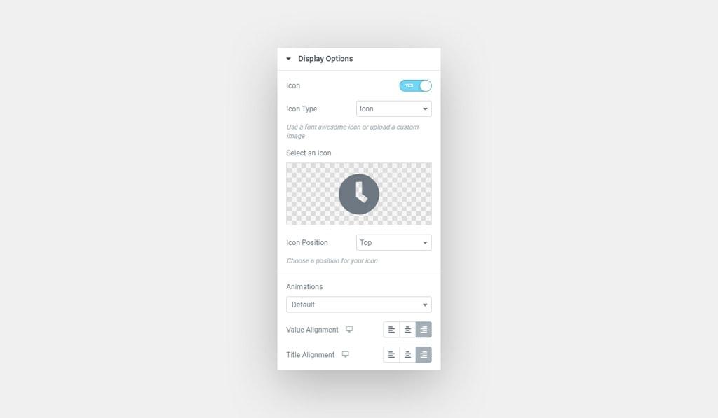 Premium Counter Widget for Elementor Display Options