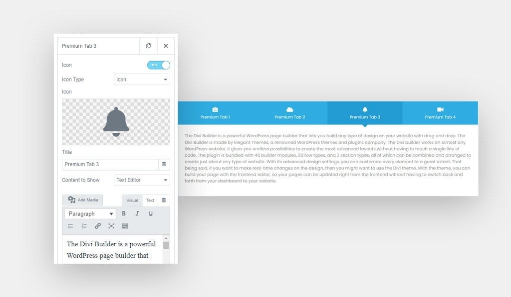 Text Editor as a Content to Show in Elementor Tabs Widget