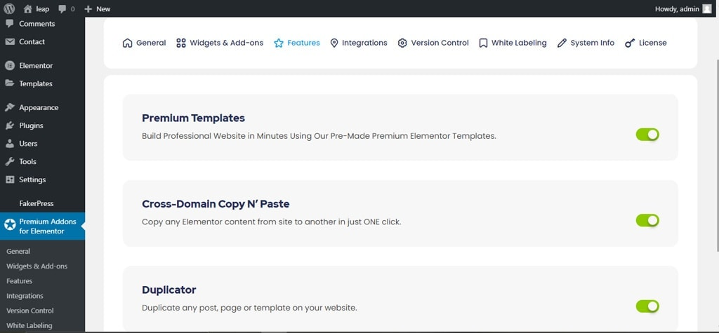 Premium Addons for Elementor Features Tab