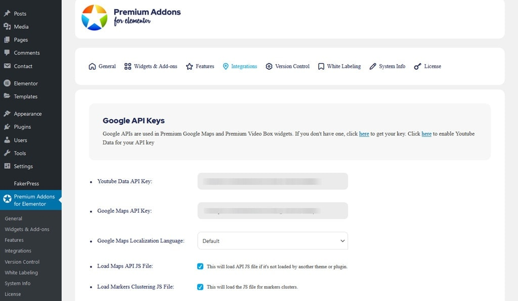 Premium Addons for Elementor Integration Tab