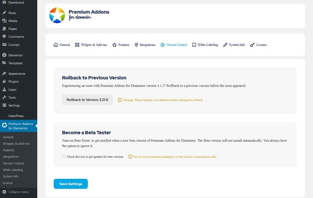 Premium Addons for Elementor Version Control Tab