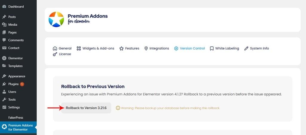 Premium Addons for Elementor Rollback Settings