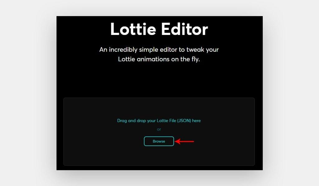 Upload Lottie JSON Files to Lottie Editor.