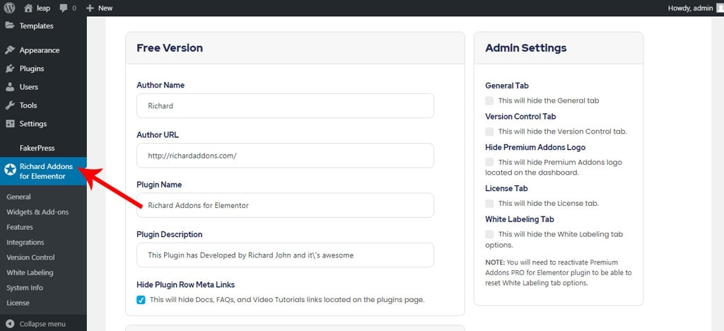 White Label Free Version for Premium Addons for Elementor