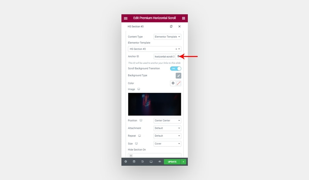 Set Anchor ID for Slide in Elementor Horizontal Scroll Widget