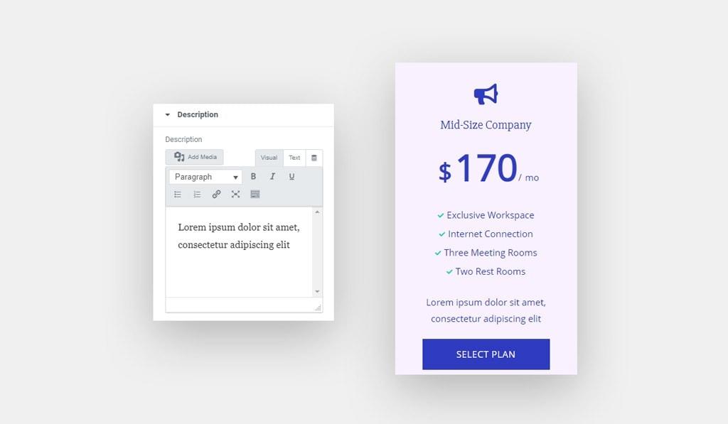 Pricing Table Widget for Elementor Description
