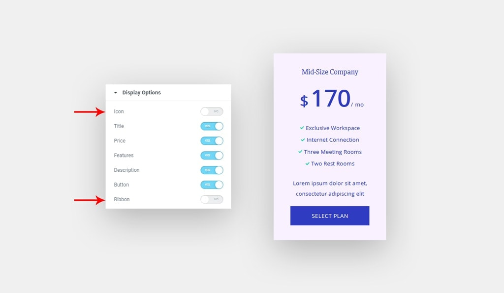 Elementor Pricing Table Widget Displaying Options