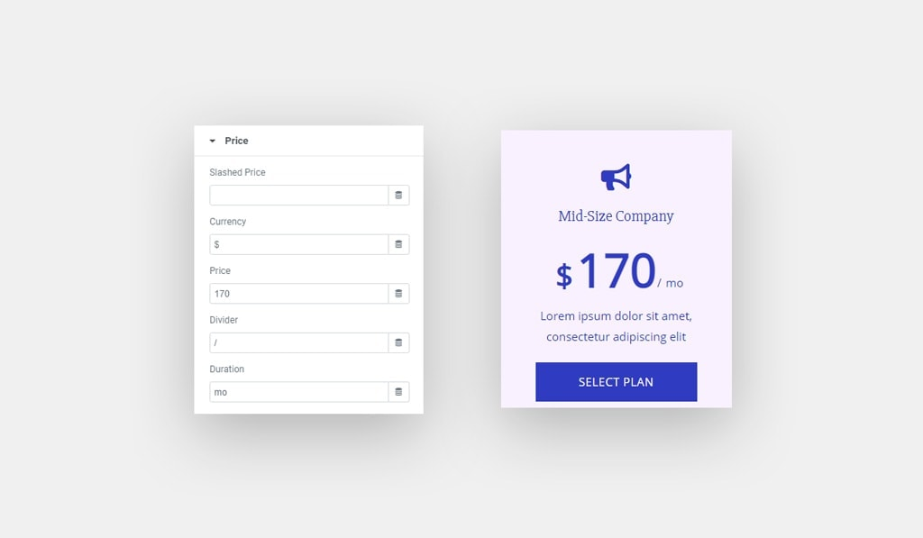 Elementor Pricing Table Price Options