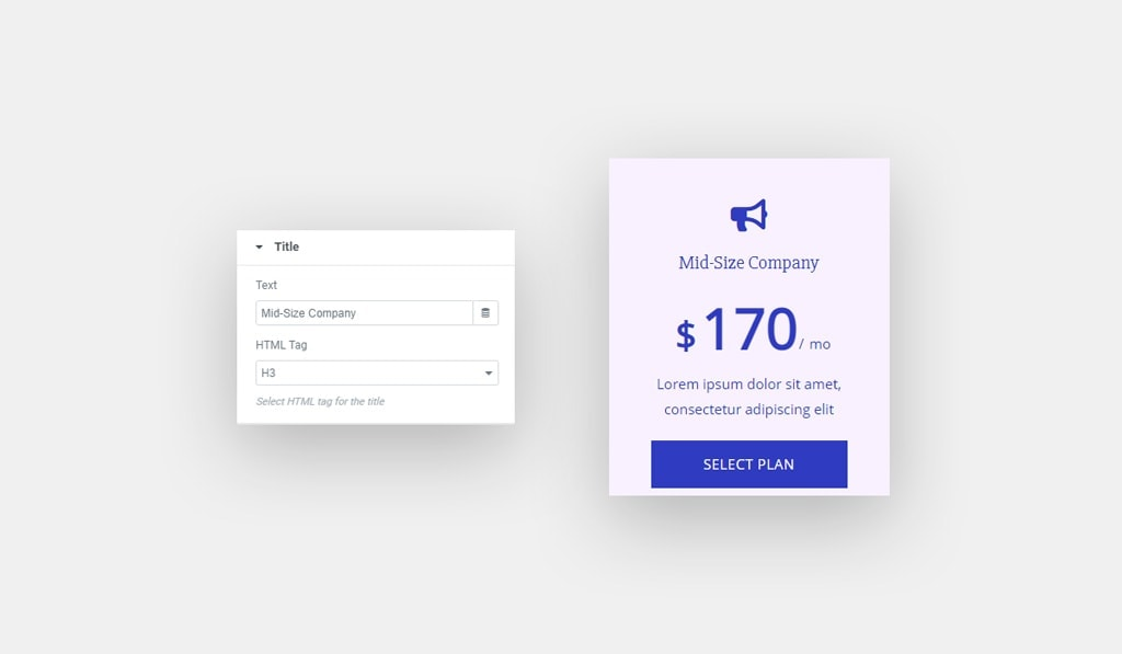 Elementor Pricing Table Widget Title