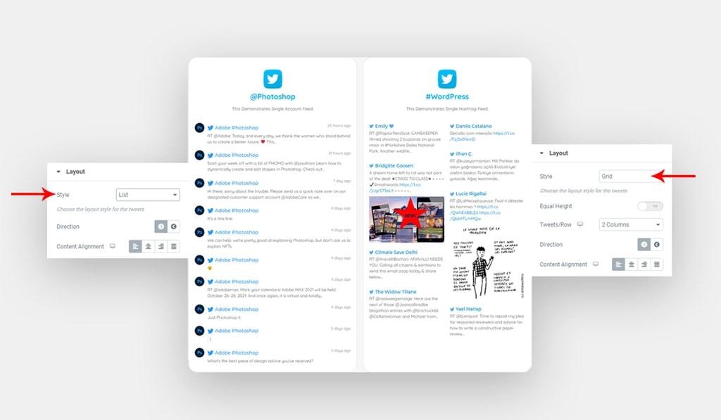 Twitter Feed Widget for Elementor Layout Settings