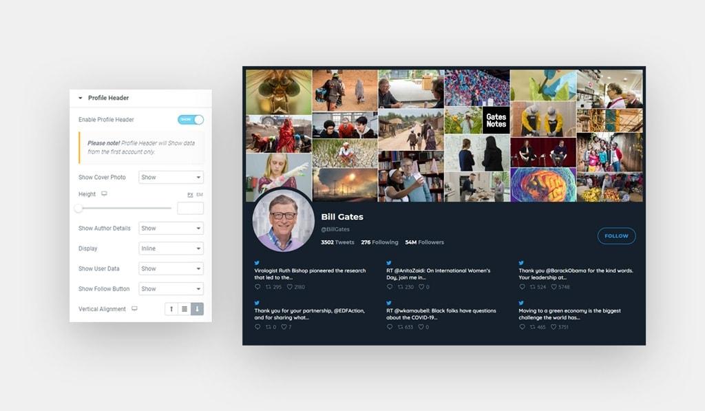 Twitter Feed Widget for Elementor Profile Header Settings