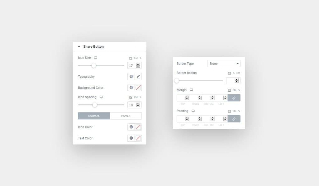 Share Button Style in Elementor Instagram Feed Widget