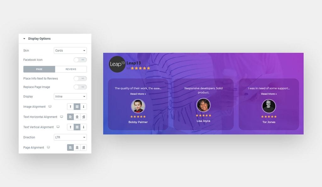 Elementor Facebook Reviews Widget Cards Skin