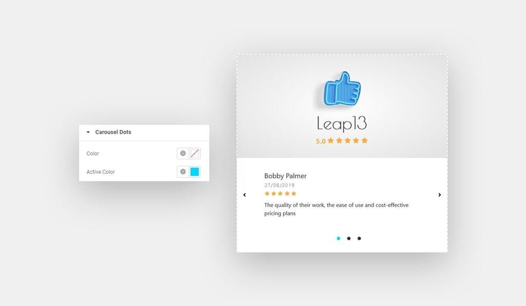 Carousel Dots Style for Elementor Facebook Reviews Widget