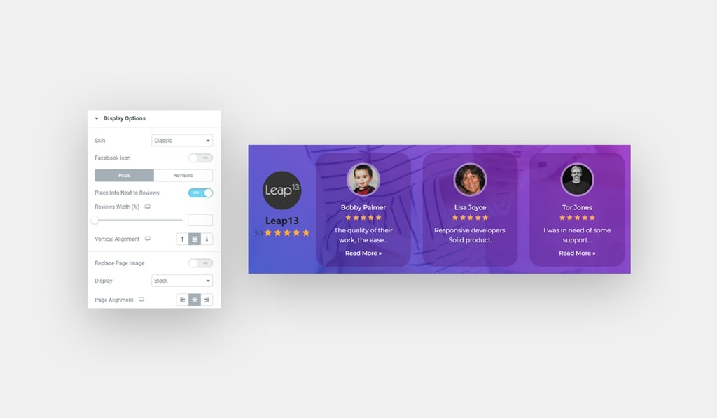 Elementor Facebook Reviews Widget Page Display Options